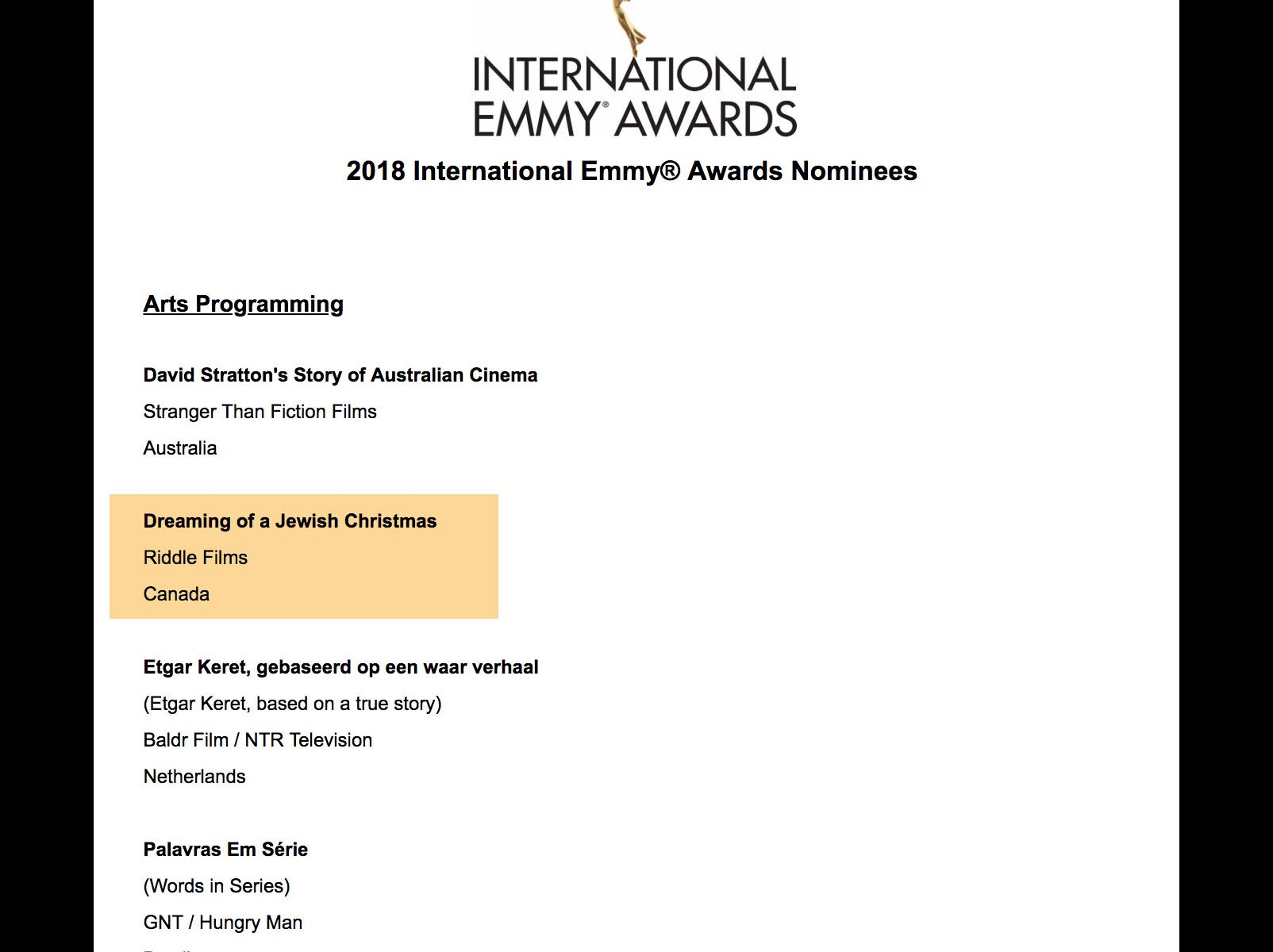 Riddle Films is Nominated for an International Emmy - 2018